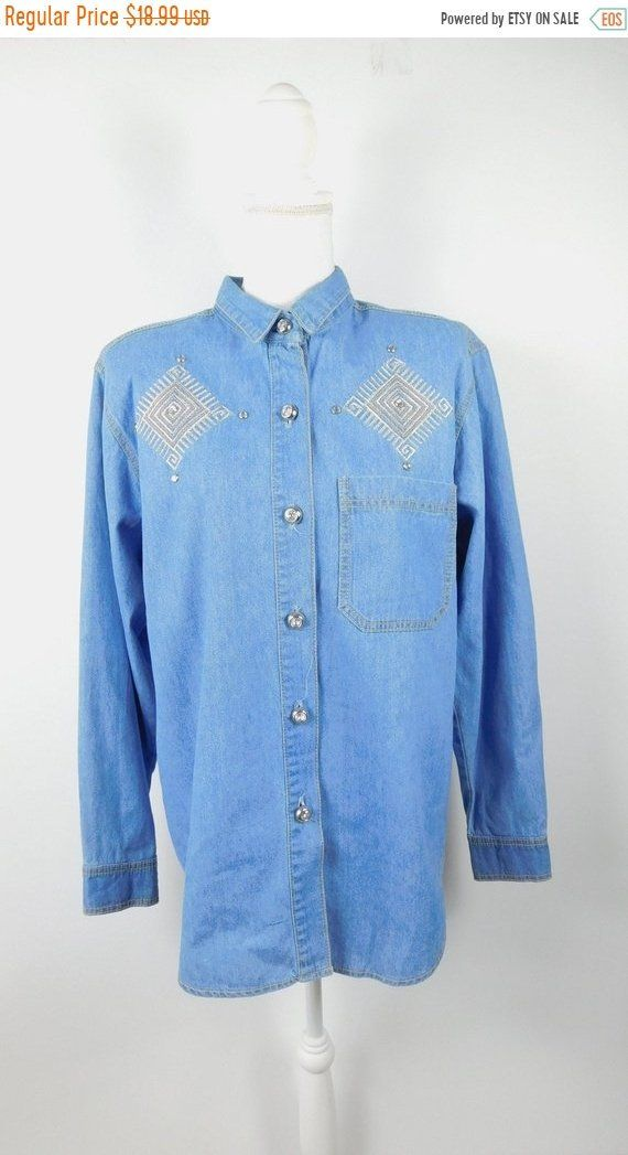 bc9e9d6e 35% OFF FALL SALE Vintage 1990s 90s Blue Jean Embroidered Diamond Gold  Silver Button Down Long Sleeve Shirt Top Blouse Sz 12 Large by  WearingMeOutVtg on ...