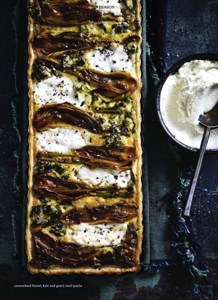 never thought about caramelizing fennel before // Caramelised fennel, kale & goat's curd quiche.