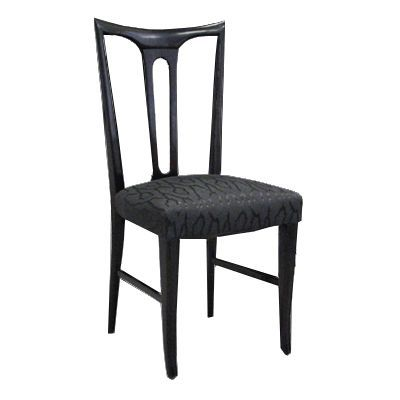 vintage ebonized italian wood occasional chair newly in black satin