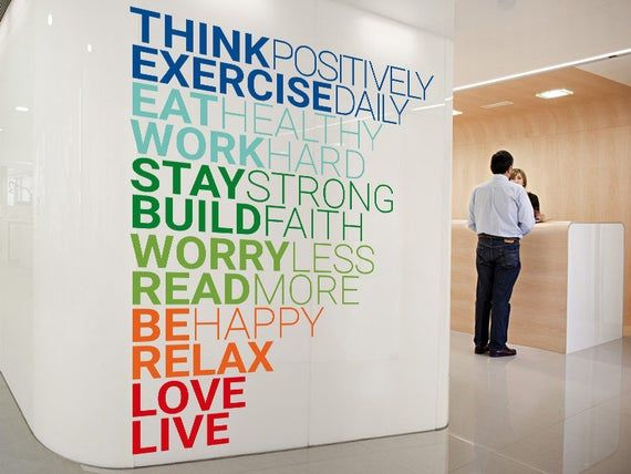 Think Positively Wall Sticker Wall Decal Motivation Etsy In 2020 Office Wall Decals Office Wall Graphics Office Wall Design