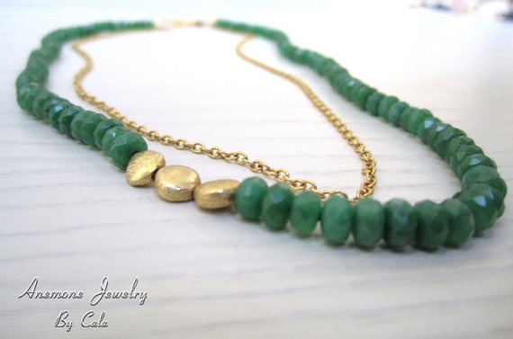 Jade Necklace Gold Beads Gold Chain  Faceted par AnemoneJewelry, $84,00