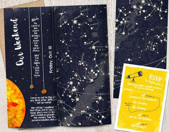 Wedding Invitation Suite: Solar System Planets Stars by pixelpaper