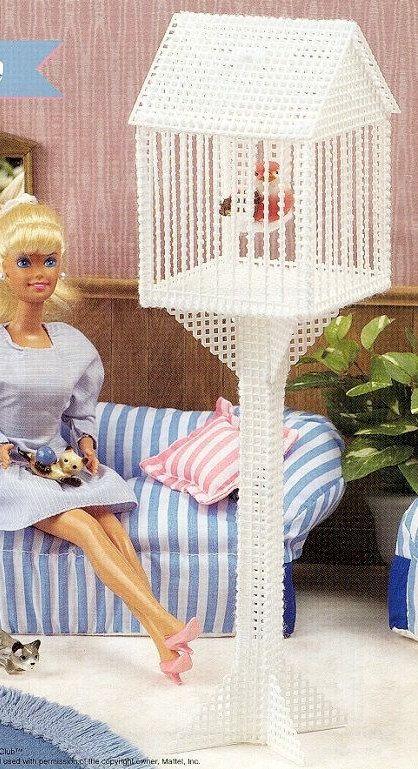 RARE Fashion Barbie Kelly Doll house BIRDCAGE handmade Bird House Cage Pet plastic canvas girl PATTERN Birthday gift