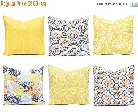 SALE Decorative Pillow Covers - Yellow Pillow Covers - Orange, Aqua and Yellow - Floral Pillow Cover - Yellow Cushion Covers - Sofa Pillow C