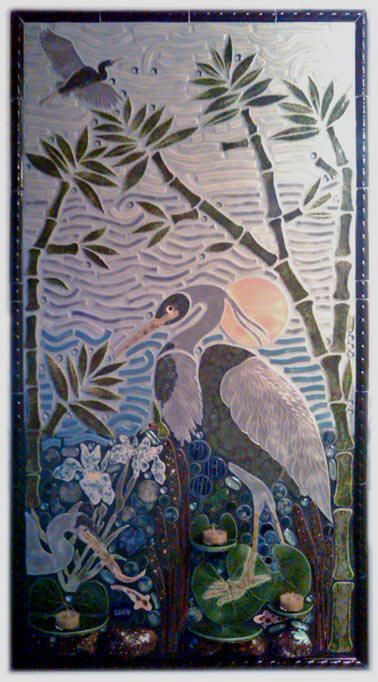 15 best images about large bird mosaic tiles on pinterest for Ceramic mural designs