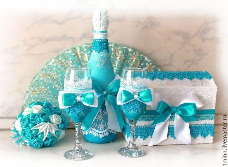 """Купить Свадебный набор """"Кружевная бирюза"""" - бирюзовый, цвета тиффани, свадьба, свадьба в бирюзовом, Бокалы"""