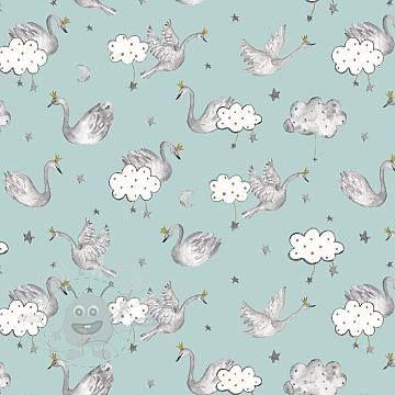 Úplet Swan sweethearts glitter mint