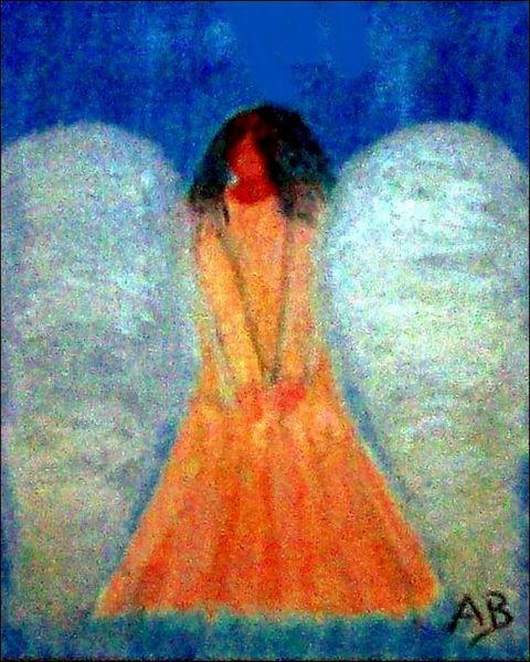 Engelgemäld-Ölbild-Engel-Frau-Mädchen-Ölmalerei-Ölgemälde-Moderne Malerei