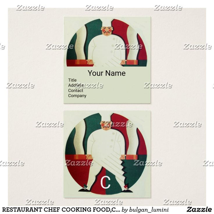 RESTAURANT CHEF COOKING FOOD,CATERING MONOGRAM SQUARE BUSINESS CARD #food #culinary #catering #kitchen #cook #art