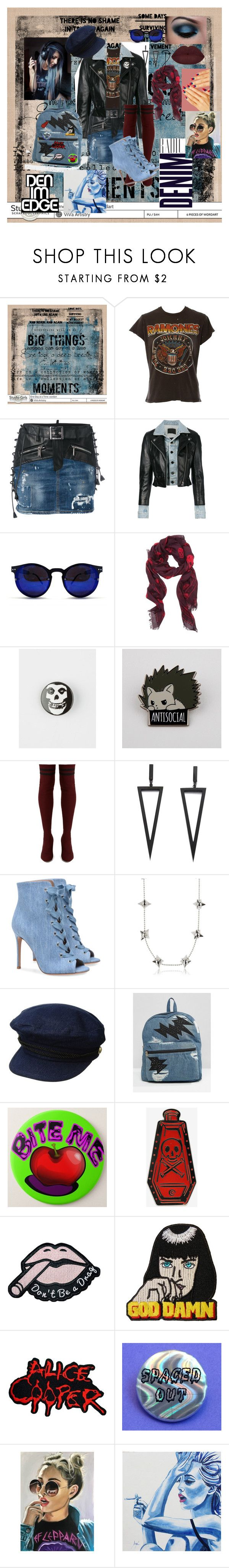 """Denim and Leather-Punk it out"" by melissa-jones-01 ❤ liked on Polyvore featuring MadeWorn, Dsquared2, Alexander Wang, Spitfire, Alexander McQueen, C&D Visionary, Tabitha Simmons, Lauren Ralph Lauren, Juicy Couture and Wallace"