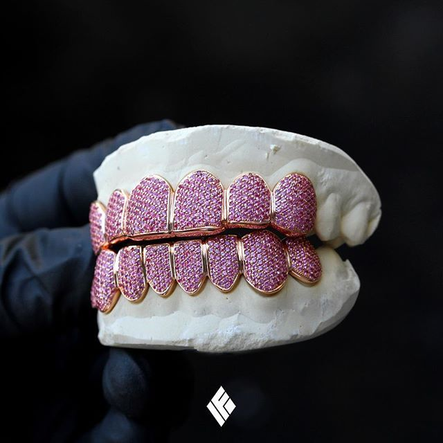 Solid 14k Rose Gold Top 6 Bottom 8 Grills Fully Iced Out With Natural Pink Sapphires Custom Made To Order Pinks Natural Pink Sapphire Grillz Gold Grillz
