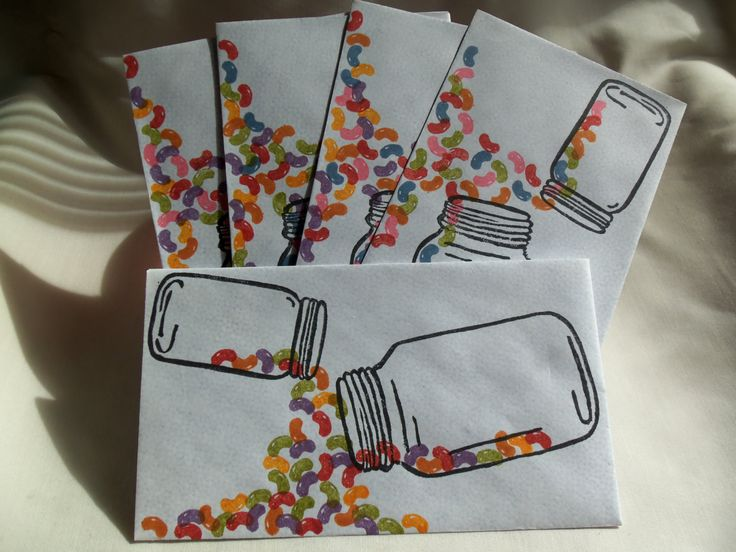Five Creative Mail Art styled security envelopes featuring jars and jelly beans.
