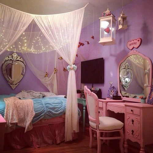 Pastel goth bedroom. Ughhh so basically I can just attach chiffon or soft tule to some ribbon/strong and tie it to my ceiling