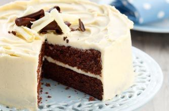 Double chocolate fudge cake with vanilla and white chocolate buttercream recipe - goodtoknow