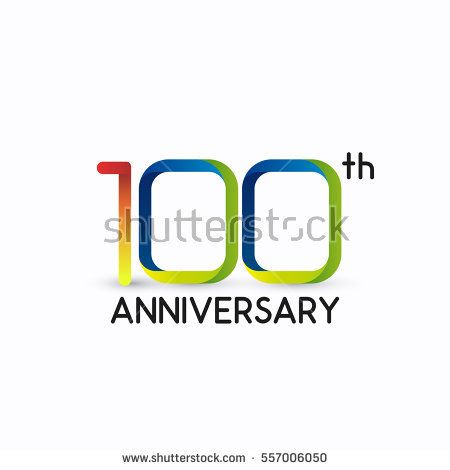100th anniversary celebration logo,colorful, isolated on white background