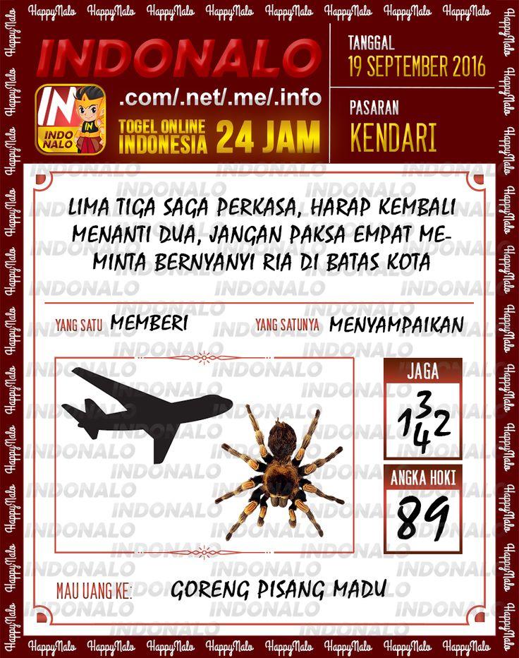 Angka Pakong Togel Wap Online Live Draw 4D Indonalo Kendari 19 September 2016