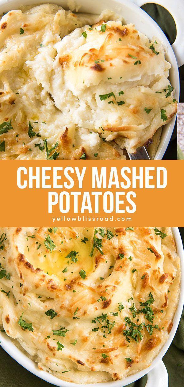 Easy Cheesy Mashed Potatoes Recipe Yellowblissroad Com Recipe In 2020 Potato Side Dishes Cheesy Mashed Potatoes Baked Mashed Potatoes