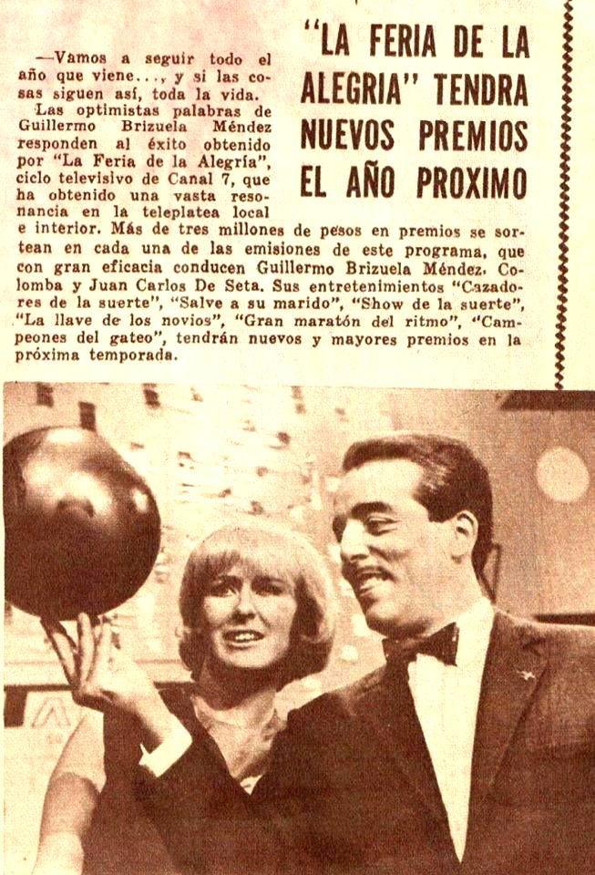"""BRIZUELA MENDEZ y COLOMBA, conductores del programa de TV """"La Feria de la Alegría"""", CANAL 9, Buenos Aires, década del 60."""