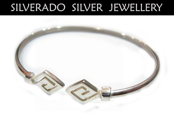 Ancient Greek Eternity Key Bangle Bracelet by SilveradoJewellery, €27.00