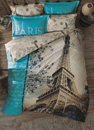 100 Cotton 7pcs Paris in Autumn Full Double Size Duvet Cover Set Eiffel Theme Bedding Linens