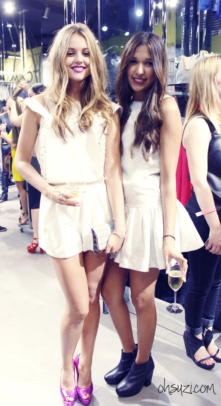 Isabelle Cornish & Cat at TOPSHOP sydney launch 2012 with ohsuzi
