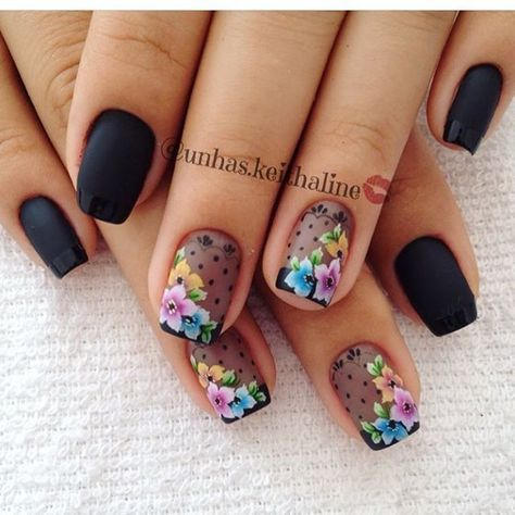 Black, sheer with black French tips and floral