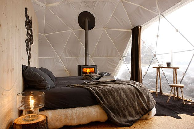 This getaway high in the Swiss Alps comprises 15 geodesic pods – igloo-like tents, complete with en-suite facilities. All is snug inside – g...
