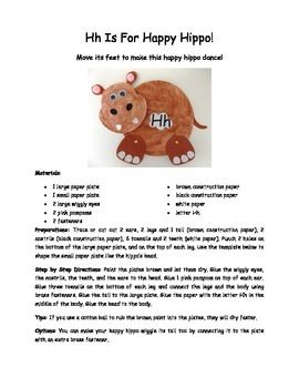 This movable paper plate craft is cute, fun, and easy to make! Your Kindergarteners, pre-K students or even younger children will love making this hippo and playing with it too!