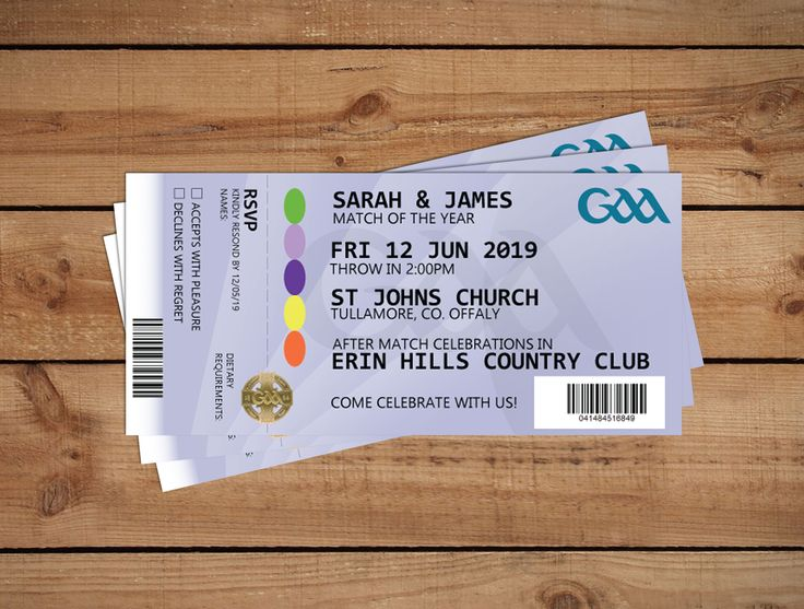 GAA Tickets Wedding InvitationsWedding Invitations to start your exciting adventure together