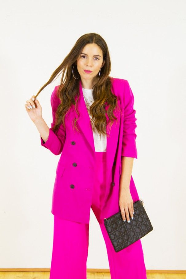 outfit tailleur estivo fucsia