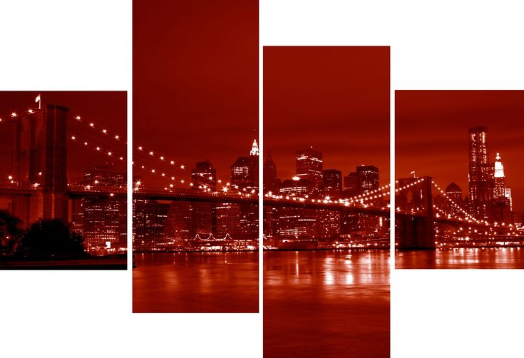 4 piece canvas wall art large 4 panel new york city for Red wall art
