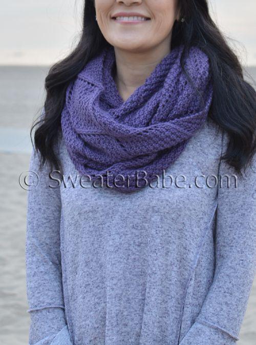 Beautifully textured infinity scarf knitting pattern. Diamond lattice stitch in worsted-weight yarn.