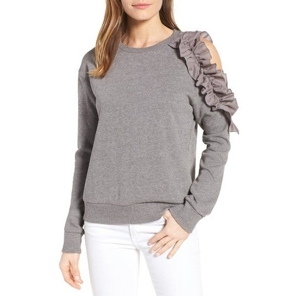 Petite Women's Halogen Ruffled Cold Shoulder Sweatshirt ($35) ❤ liked on Polyvore featuring tops, hoodies, sweatshirts, grey heather, petite, ruffle sweatshirt, open shoulder top, cold shoulder tops, french terry sweatshirt and cold shoulder sweatshirt