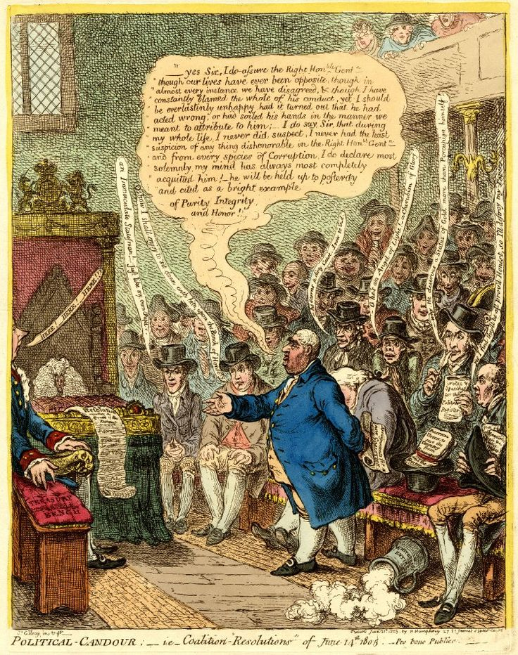 """Political Candour; - i.e. - Coalition 'Resolutions' of June 14th 1805"" by James Gillray. Charles James Fox makes a speech in the House of Commons; the Opposition benches are packed, while Pitt, on the extreme left, sits alone on the Treasury Bench. This is a very interesting print - see the British Museum page for an explanation of the political background."