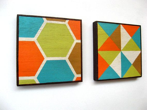 Paintings on Wood  Mid Century style  Wall Decoration by Lunartics, €40.00