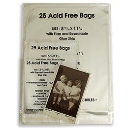 """The Container Store  Acid-Free Resealable Bags Acid-Free Resealable Bags Pkg/25 8-15/16"""" x 11-1/4"""" 10010803 $6.99 Acid-Free Resealable Bags Pkg/25 5-7/16"""" x 7-1/4"""" 10010800 $3.99"""