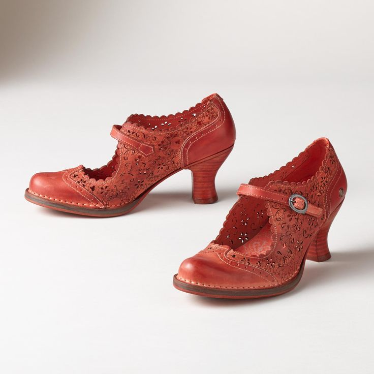 MIA ROCOCO SHOES -- Intricate cutaway flowers and swirls top these feminine floral leather heels. Comfortable, hand-dyed shoes, with an air of romance. Spain. Exclusive. Euro whole sizes 36 to 41.