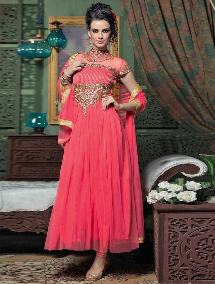 Snap up the style this season with this extravagant pink georgette party wear salwar suit. #Shopnow