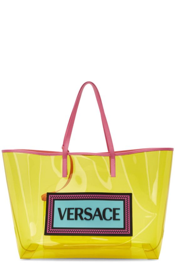3bcb80bb Versace - Yellow & Pink PVC Oversized Tote   Shoes in 2019   Versace ...