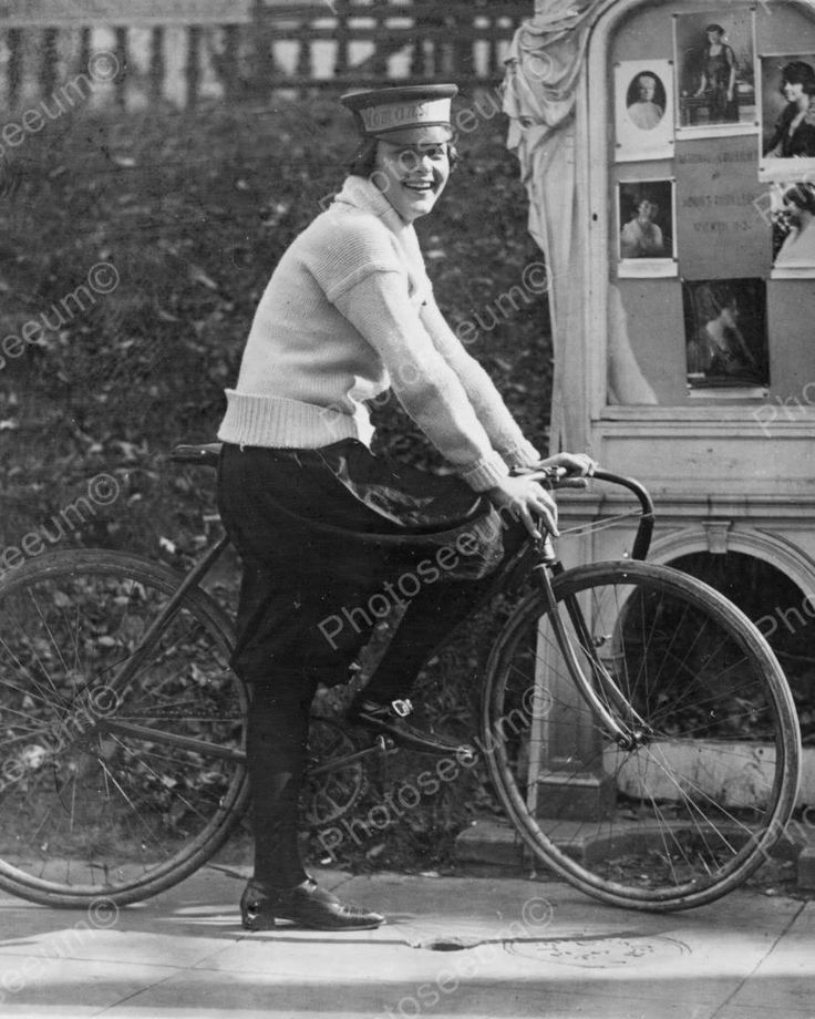 Girl Bike Courier Vintage 8x10 Reprint Of Old Photo