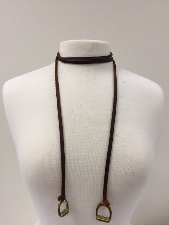 Long Leather Stirrup Charm Necklace, Equestrian Horse Tack Shop Accessory