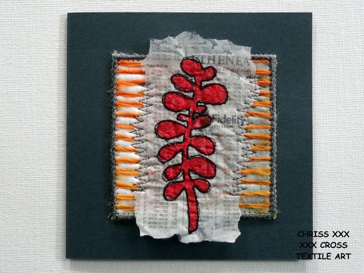 Kunstkaart / Mail Art van Kunst per post Afmeting kaart: 13x13cm (bxh) Afmeting kunstwerk: 8x8cm (bxh) Kleur: zwart - wit - rood - oranje