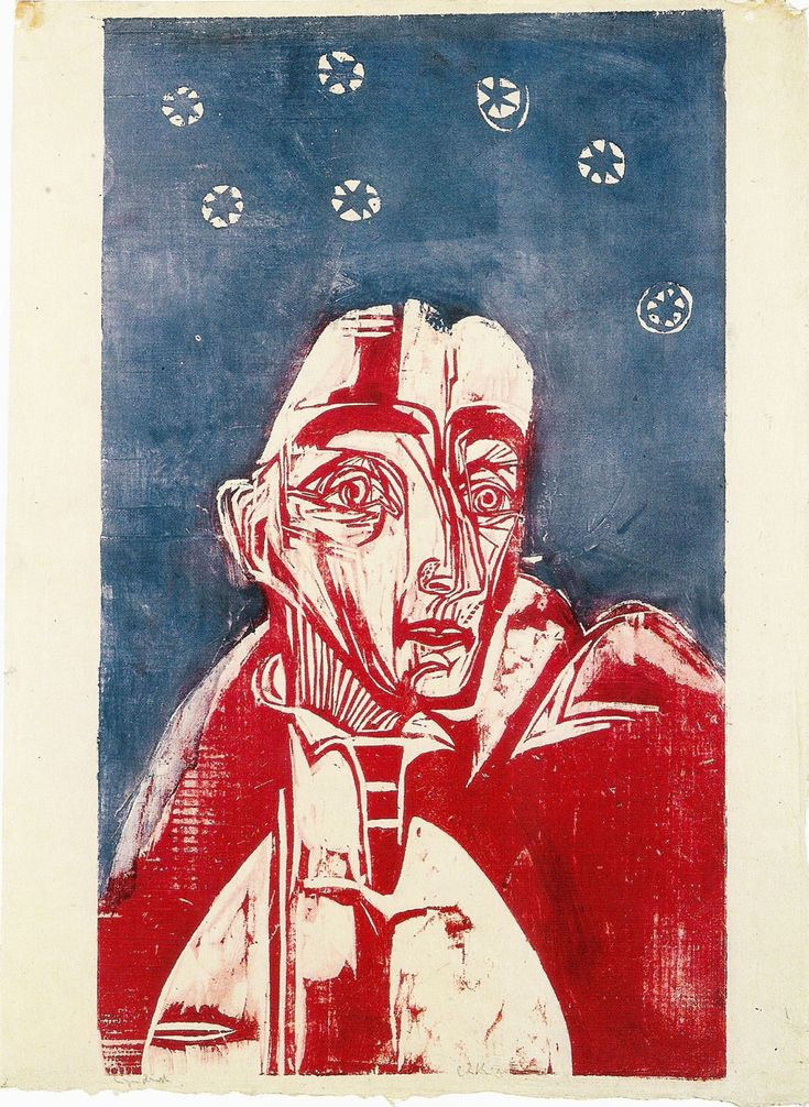 german-expressionists:Ernst Ludwig Kirchner (German, 1880-1938), Frau in der Nacht [Woman in the night], 1919. Woodcut.
