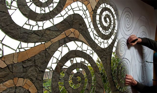 mirror and stone mosaic - for wall in our outdoor atelier