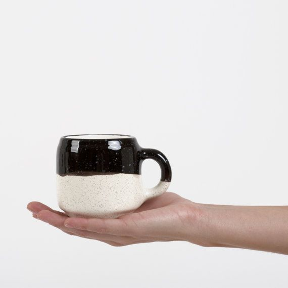 Choco Mug Black and Ecru by MinkaInhouse on Etsy