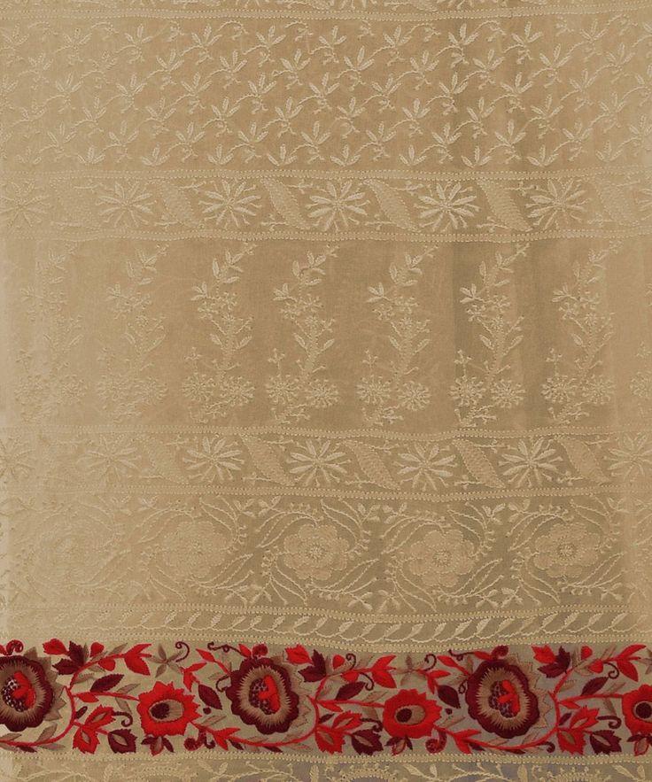 Masterpiece Heirloom Parsi Gara & Chikankari Hand Embroidered Saree