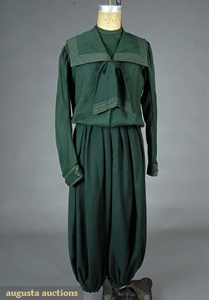 """LADYS CYCLING GARMENT, c. 1890 3-piece, green wool: middy top, inside modesty piece & gathered bloomer pant, B 42"""", W 22"""", Sh-Sh 15"""", Inseam 21.5"""" http://www.augusta-auction.com/component/auctions/?view=lot=6481_file_id=9"""
