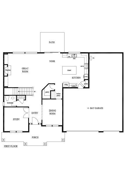 Rembrandt first floor large kitchen with walk thru butler for Rembrandt homes floor plans