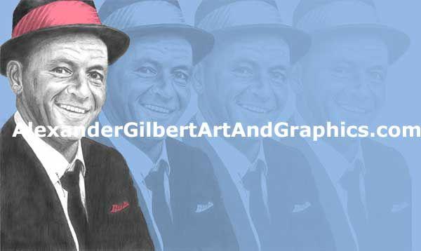 Frank Sinatra celebrity artwork by Alexander Gilbert.  Buy prints here: http://fineartamerica.com/featured/frank-sinatra-individual-pink-on-blue-alexander-gilbert.html  Original pencil sketch here: http://fineartamerica.com/featured/frank-sinatra-pencil-alexander-gilbert.html
