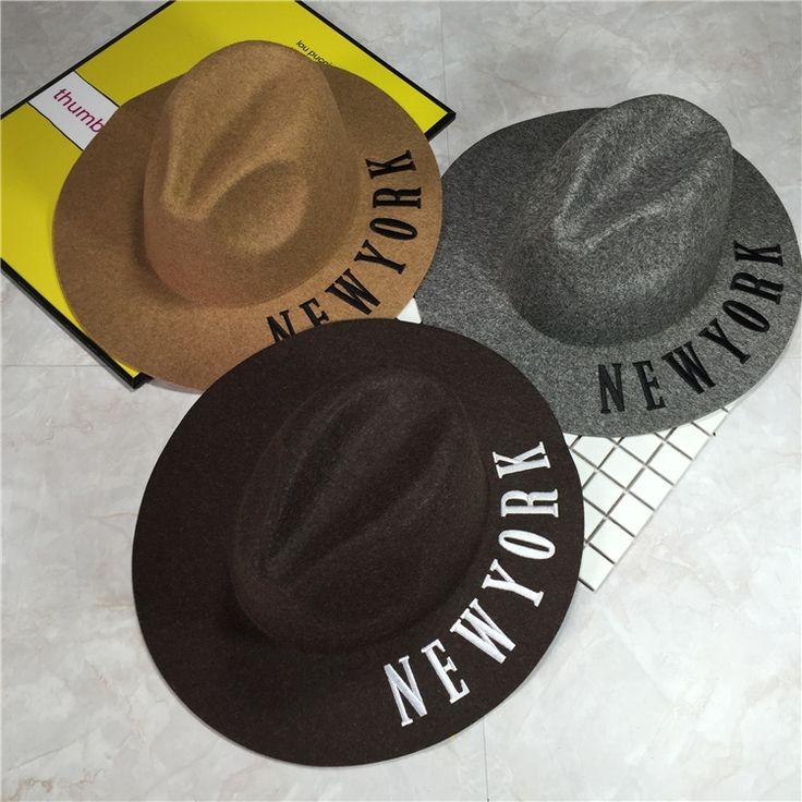 2016 Solid Paper Clip Printed Fedora Hat For Women letter pattern Sombreros Woolen Cap Toper Black Bucket Hat Fashion Bowler Hat